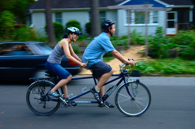 a tandem bike ride along Gold Coast Connecticut