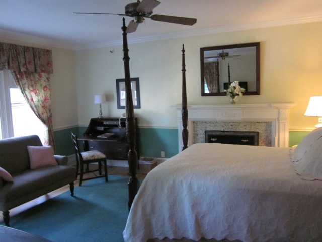 You can get a peak of the antique fireplace when you first enter the room.