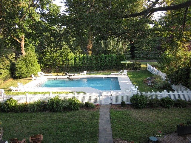 Our pool in August, as seen from Room 28's porch.
